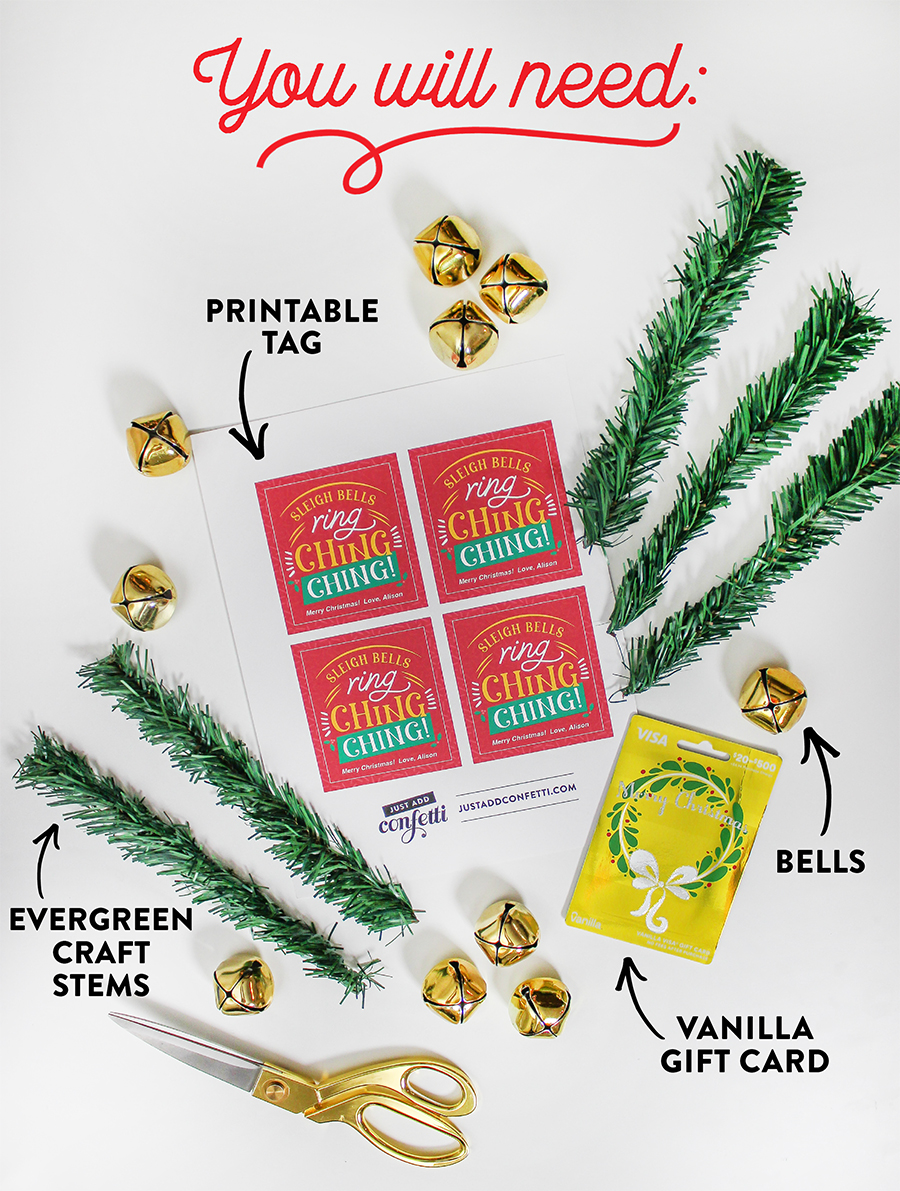 Just Add Confetti's 12 Days of Holiday Gift Ideas, Vanilla Gift, Just Add Confetti, brand partnership, Three Fun and Festive Ways to Give Vanilla Gift Cards This Holiday Season, extra dough, magic of the season, sleigh bells ring ching ching, creative ways to give gift cards, ways to give gift cards for Christmas, snow globe, bells, gift card in oven mitt, free printables, gift giving, season of giving,