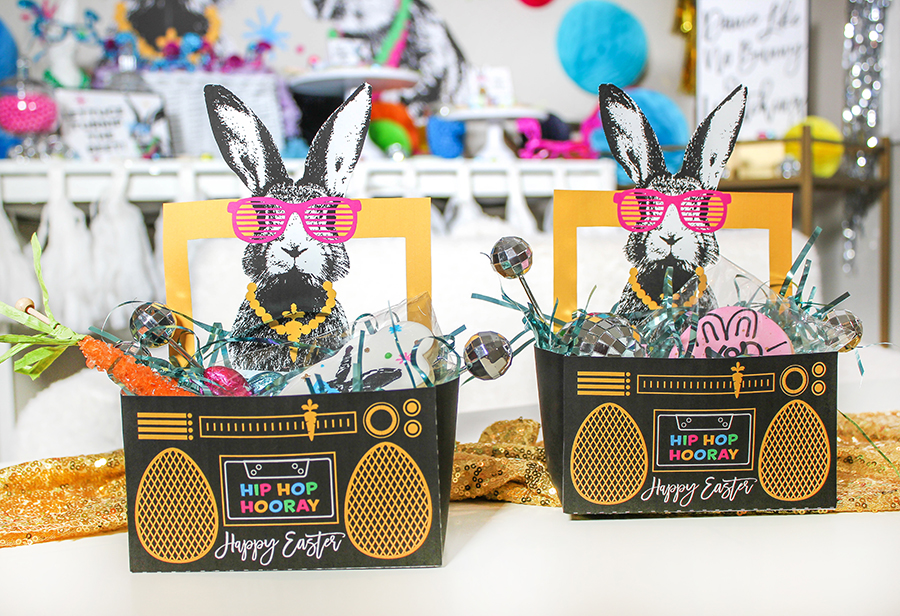 Hip Hip Hooray, Easter Hip Hop Party, hip hop, hip hop bunny, giveaway, easter party, dance party, easter, hip hop hooray Easter Party giveaway, Just Add Confetti, Paper Eskimo, Etsy, Inspired Sugar, boombox, hip, hop, lettuce turnip the beet, dance like no bunny is watching, disco ball, kids party,