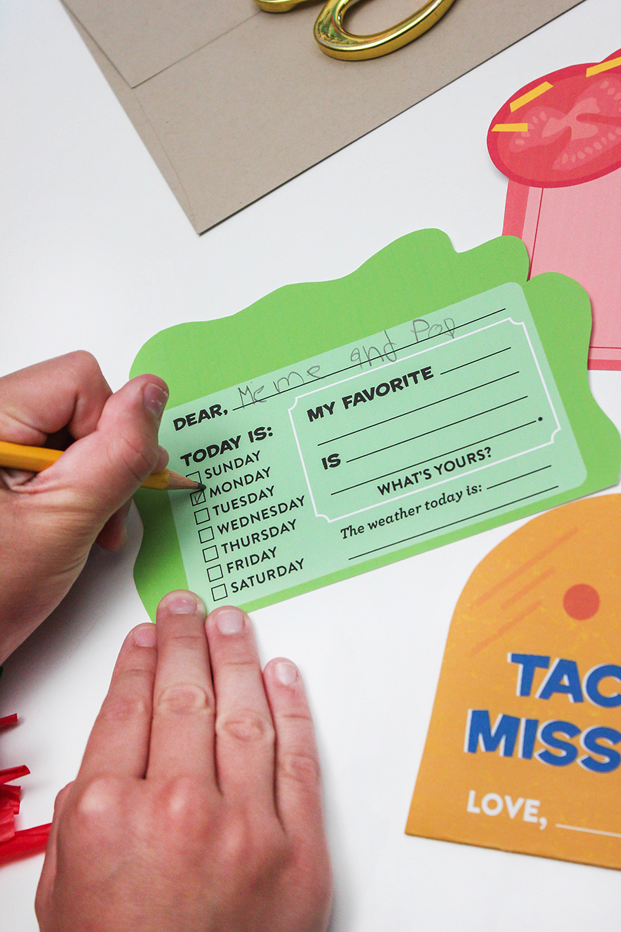Taco Pen Pal Letter for Kids, taco, letter, taco letter, pen pal, taco 'bout missing you, pen pal template, free printable, Just Add Confetti, taco card, taco pen pal