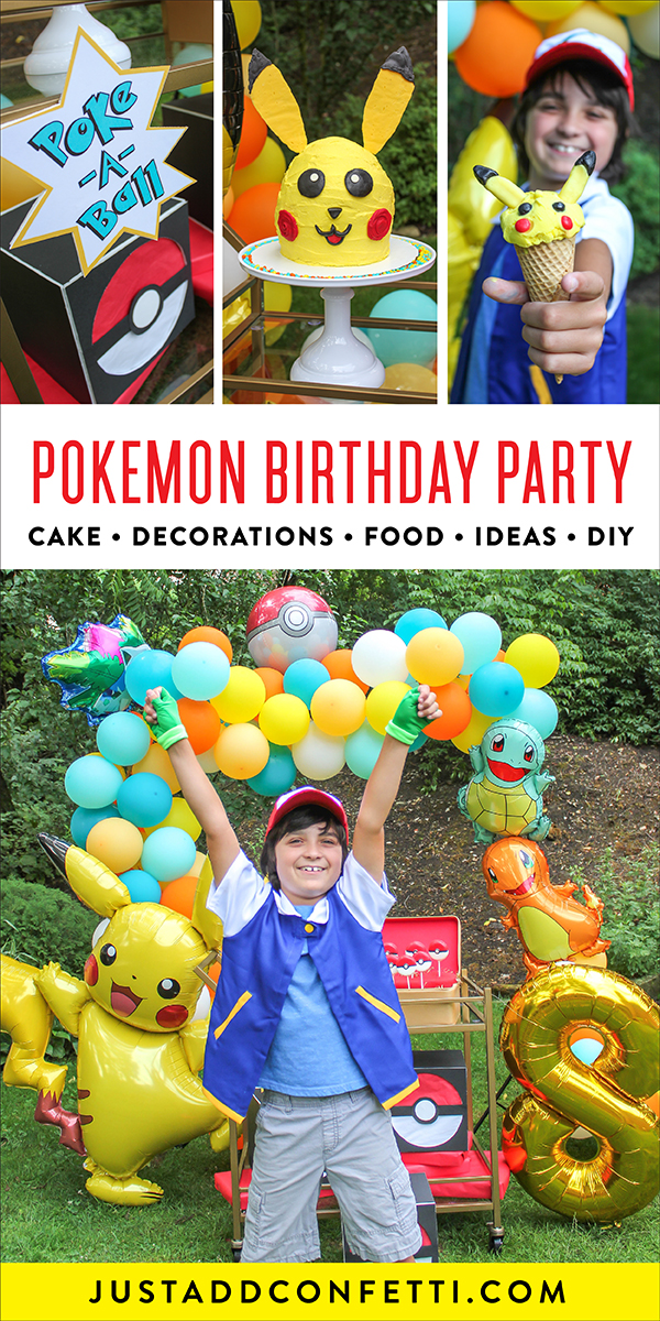 Pokemon birthday party, pokemon, pokemon party, pokemon DIY, pokemon birthday cake, pokemon birthday party ideas, DIY Pokemon cake, Pikachu, Pikachu cake, Poke ball oreo pops, poke ball, Pikachu ice cream cone, Pikachu balloon, Pokemon punch game, Poke-a-ball, creative gift packaging, poke ball gift box, DIY pokemon gift box, Just Add Confetti, kids birthday, DIY decorations, Sawyer's Pokemon Birthday Party, homemade cake, DIY cake, Oreo pops, poke ball pops, pikachu ice cream,
