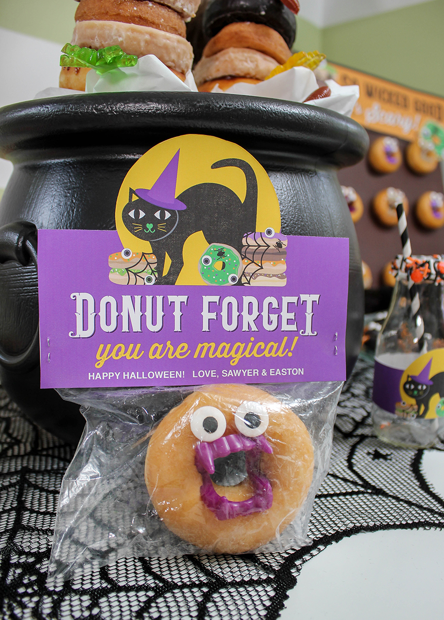 Halloween donut ideas, Halloween donut shop, black cats and pointy hats, Halloween, Halloween party, Halloween party theme, Halloween treats, donut, donut shop, doughnut, Halloween donut ideas, Halloween kids party, Just Add Confetti, party printables, Etsy shop, Etsy, Etsy seller, black cats, witch hats, black cat donuts, spider donuts, Halloween foods