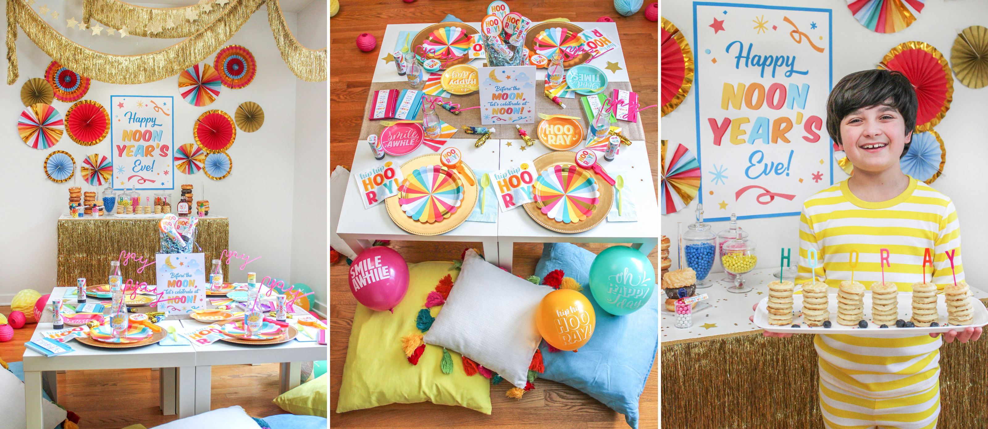 Noon Year's Eve Party, Kids' Noon Year's Eve Party, kids party, noon year, New Year's Eve, before the moon, celebrate at noon, ring in the noon year, ring in the new year, party printables, Just Add Confetti, at-home party, at-home celebration, pajama party, brunch, breakfast, new years eve, new years, new year
