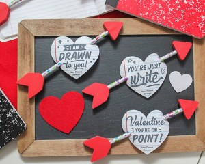 """""""You're Just Write"""" Notebook Paper Heart and Pencil Arrow Valentine"""