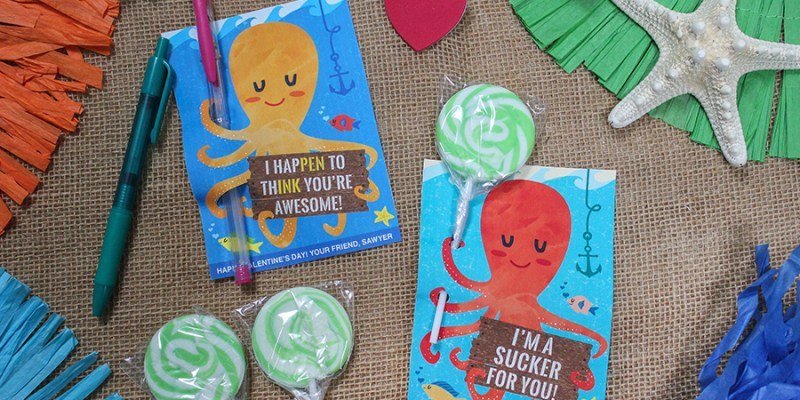 """""""I'm a Sucker for You"""" Octopus Kids Valentine"""