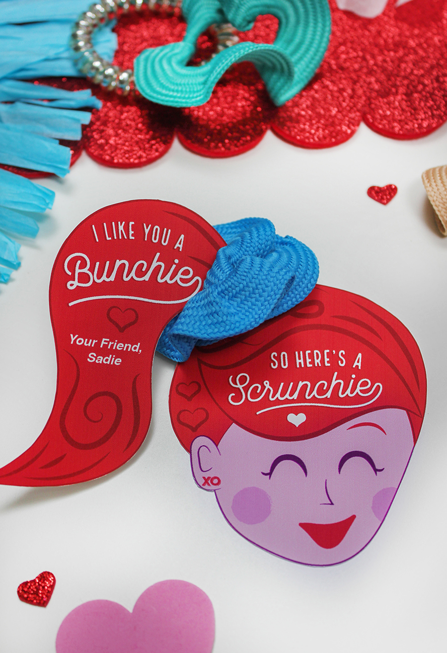 """kids valentine, scrunchie, I like you a bunchie so here's a scrunchie, love is in the hair, ponytail, school valentines, classroom valentines, Etsy, Etsy shop, """"Love is in the Hair"""" Scrunchie Kids Valentine Idea, Just Add Confetti, hair tie, ponytail valentine, hair valentine, Valentines for girls"""