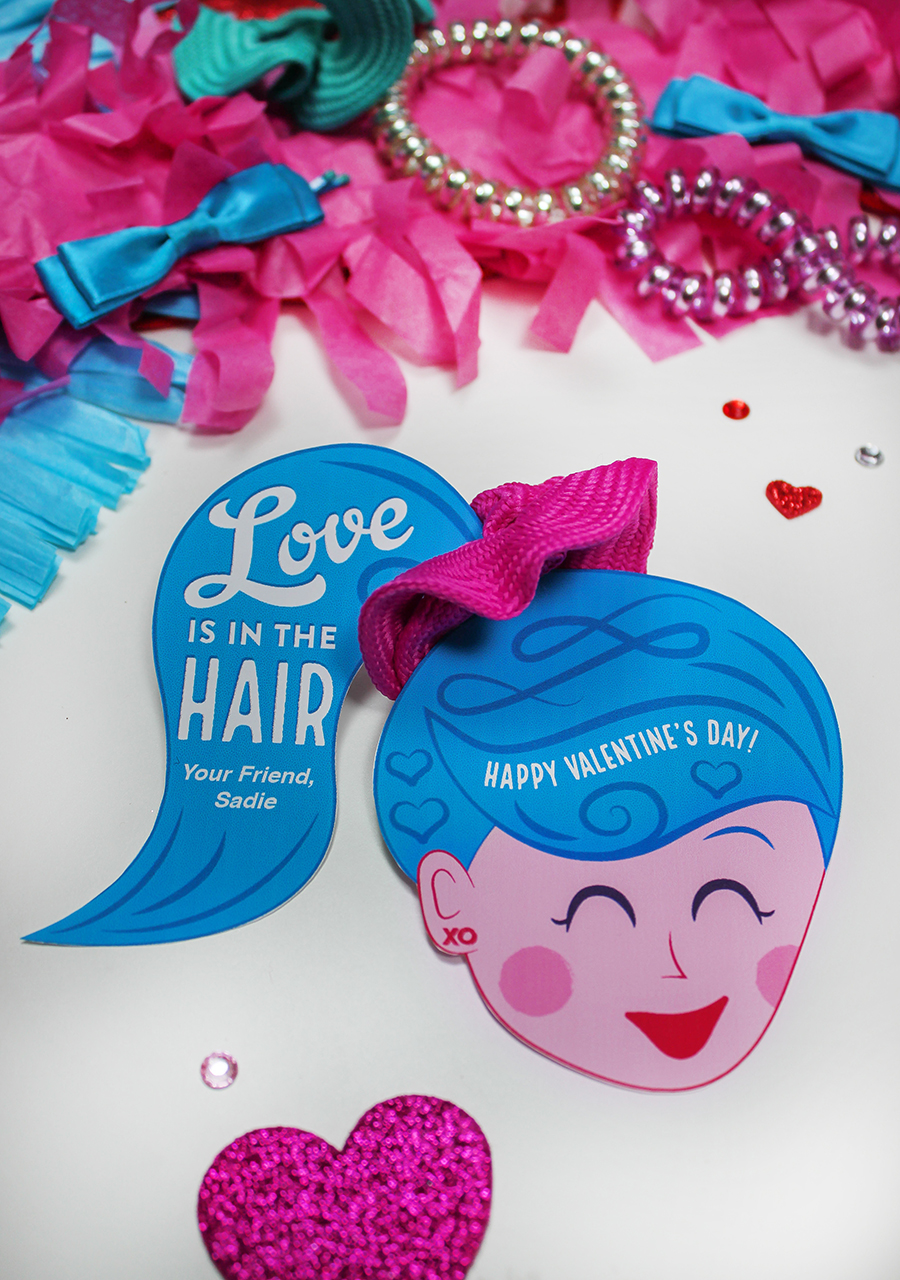 "kids valentine, scrunchie, I like you a bunchie so here's a scrunchie, love is in the hair, ponytail, school valentines, classroom valentines, Etsy, Etsy shop, ""Love is in the Hair"" Scrunchie Kids Valentine Idea, Just Add Confetti, hair tie, ponytail valentine, hair valentine, Valentines for girls"