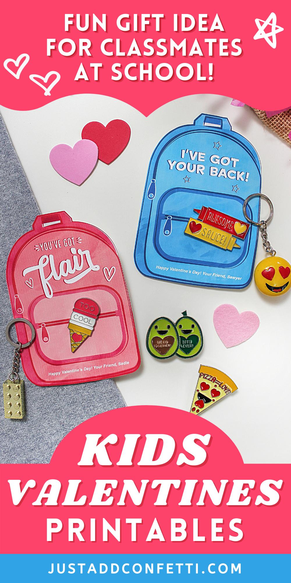 """You've Got Flair"" Backpack Kids Valentine, kids valentine, backpack, school valentine, I've got your back, classroom valentine, keychain valentine, enamel pin valentine, Etsy shop, Just Add Confetti, printable valentine"