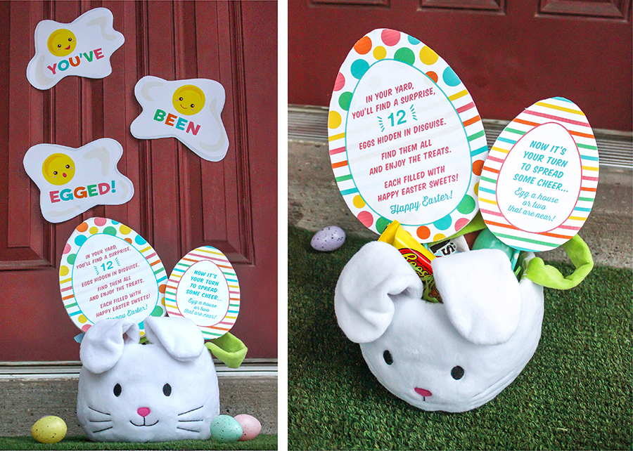 You've been egged Easter gift idea, Easter, Easter neighbor gift, Easter gift for kids, You've been egged, egged, Just Add Confetti, Etsy, Easter printables, funny Easter gift idea, doorstep drop off Easter gift, surprise Easter egg hunt, Easter egg hunt idea, We've been egged