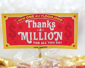 Thanks a Million 100 Grand candy bar teacher gift idea