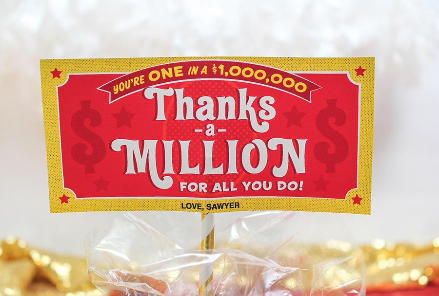 Thanks a million 100 Grand candy bar teacher gift idea, thanks a million, 100 Grand, 100 grand candy, candy bar, teacher appreciation, staff appreciation, employee appreciation, Just Add Confetti, printable gift tag, Etsy, Etsy shop, candy teacher gift, candy gift, gift of thanks, thank you, gift tag,