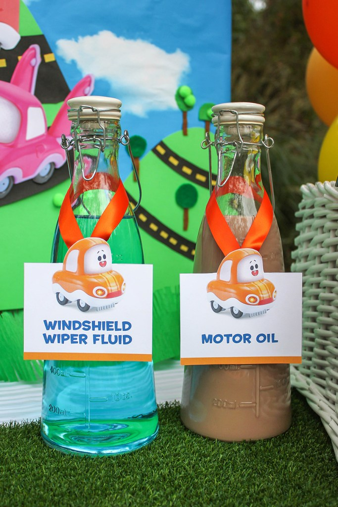 creative party foods, car themed kids party, chocolate milk motor oil