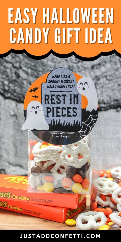 rest in pieces, Halloween gift tag, Halloween candy gift idea, Halloween tombstone, Just Add Confetti, ghost, tombstone, Reese's pieces, white chocolate covered pretzels, Halloween gift tag, candy tag, gift tag printable, Etsy, Etsy shop, Just Add Confetti Etsy shop, Halloween printable, RIP