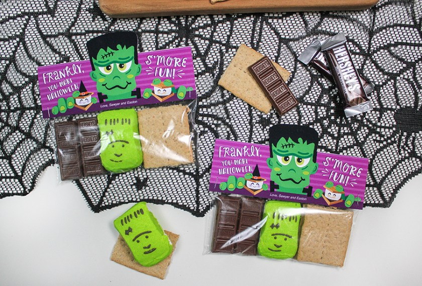 Frankenstein S'mores Halloween Treat, s'mores, s'more, treat bag, smore, smores, s'mores treat bag, Halloween, Halloween treat bag, s'mores treat bag topper, Frankenstein treat bag topper, frankly you make Halloween s'more fun, Just Add Confetti, Halloween s'mores, Halloween smores, Etsy, Etsy shop, s'mores printable, smores printable, treat bag topper