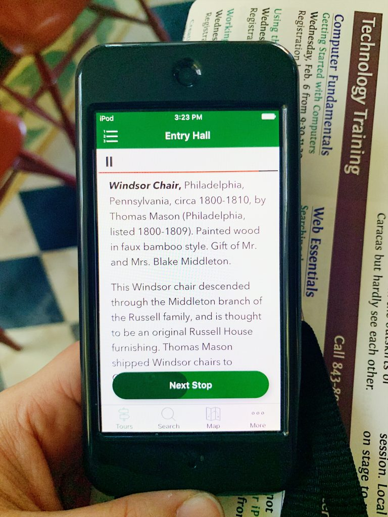 a photo of the nathaniel russel house app which included the tour recordings for each room of the house
