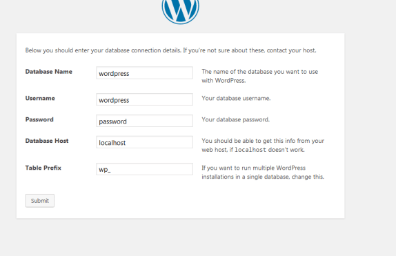 WordPress Database Screen