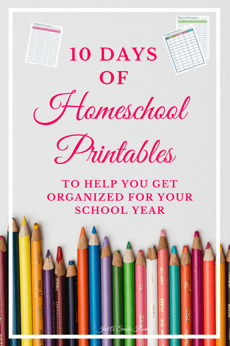 10 Days of Free Homeschool Printables! Come back each day in the series to grab a new free printable, along with tips on how to use it to plan and organize another homeschool year! I want you to feel equipped and prepared with these homeschool printables on hand. I've also teamed up with a group of talented bloggers to bring you all the best homeschool tips. #homeschool #homeschooling #homeschoolprintables #hstipsformoms #homeschoolplanner