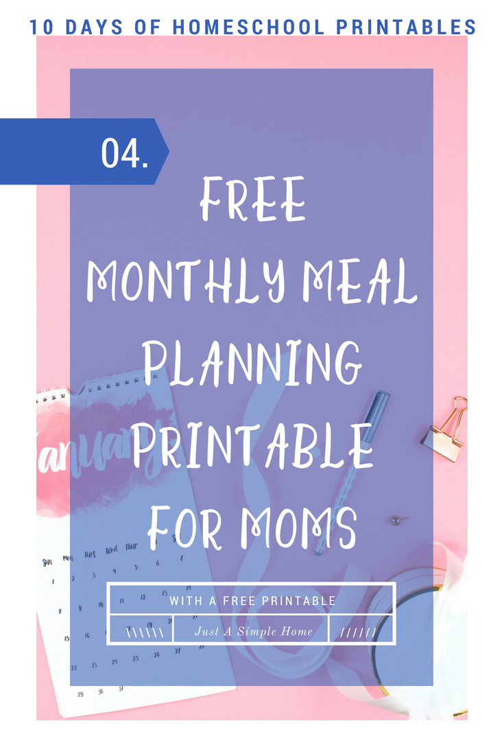 Free Monthly Meal Planning Printable for you! I plan out my meals for the week on the weekend and it helps me so much as a busy mom! #mealplanning #homeschool #homeschoolplanning #freeprintable #howtomealplan