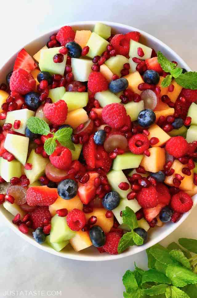The Best Fruit Salad with Honey-Lime Dressing