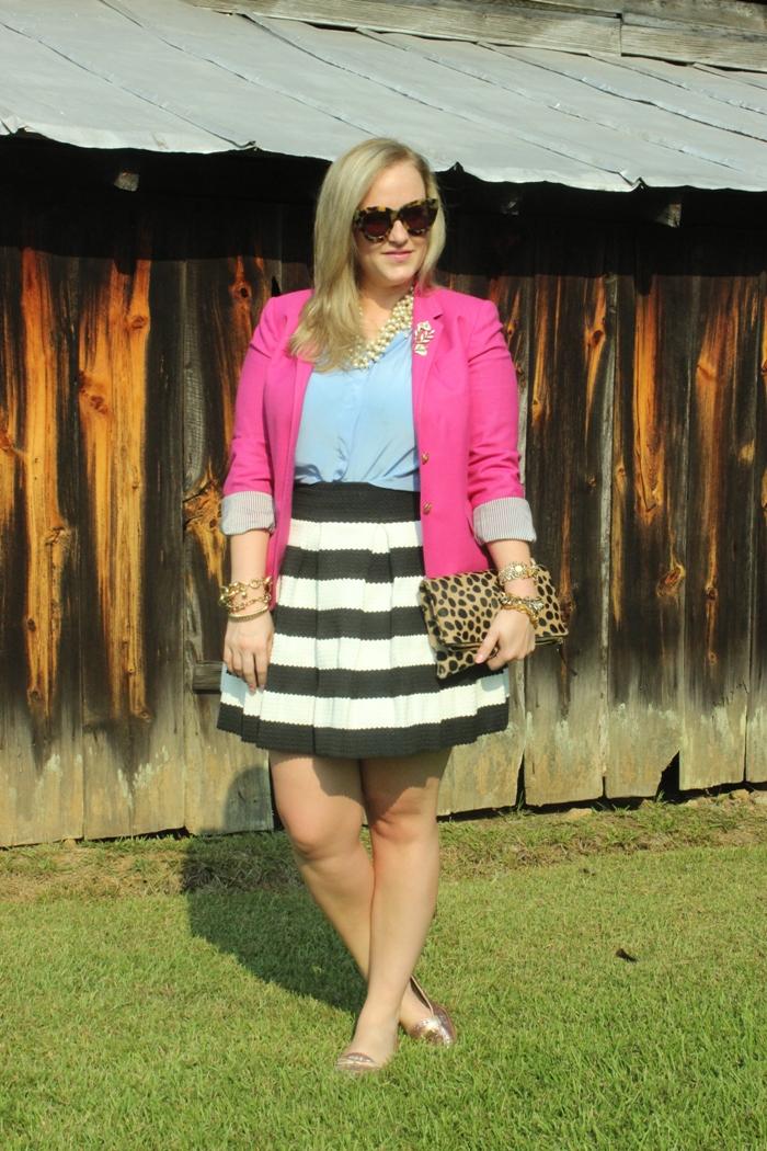 Striped Skirt Fuchsia Blazer