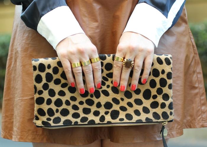 Tan Vegan Leather Skirt Leopard Clare Vivier Clutch