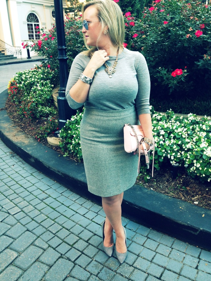 JCrew Grey Sweater Pencil Skirt