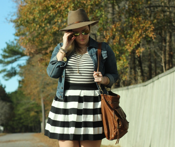 Stripe Skirt Brown Fedora