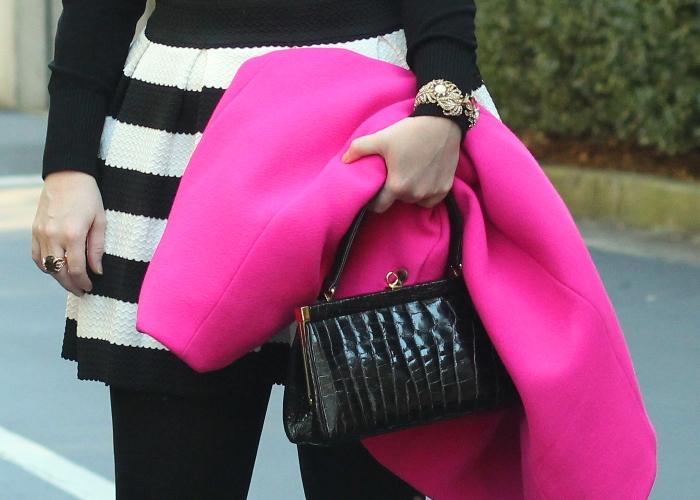 Colorblocking stripe skirt bright coat