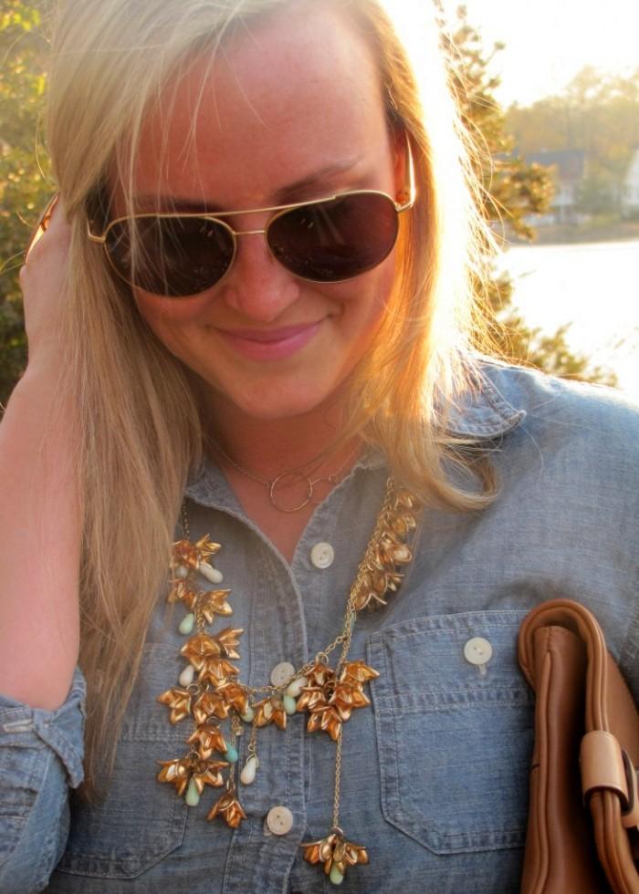 JCrew Selvedge Chambray Shirt Anthropologie Gold Bib