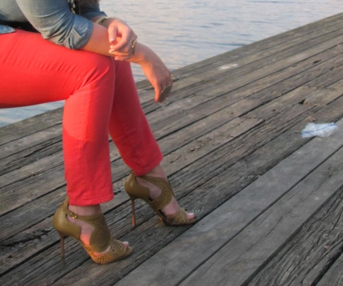 JCrew Colored Denim Sergio Rossi Laser-Cut Heels