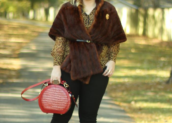 Fur Stole Outfit Fall Fur Leopard Blouse Kate Spade Hat Box Purse