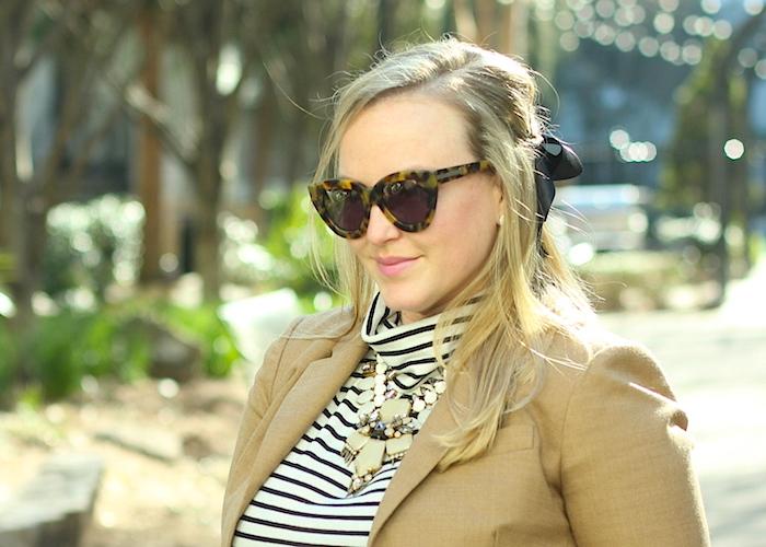 French Look Outfit Stripe Turtleneck JCrew Blazer Bardot Hair