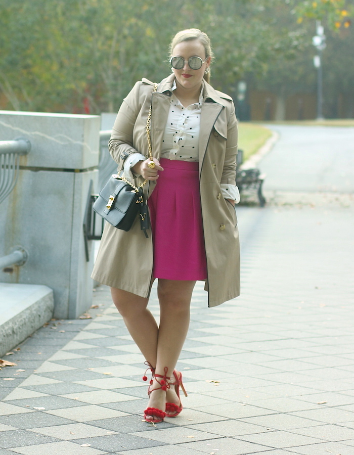 Fuchsia Skirt Red Shoes Ralph Lauren Trench Coat Fall Outfit