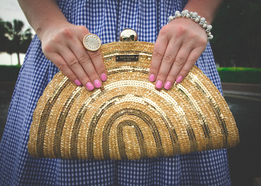 Kate Spade Gold Wicker Metallic Clutch Jenna Wessinger Just a Touch Too Much Charleston Atlanta Fashion Blogger