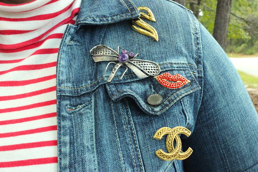 Jcrew Striped Turtleneck Dress Express Jean Denim Jacket Vintage Chanel Brooch Jenna Wessinger Fall Outfit Atlanta south