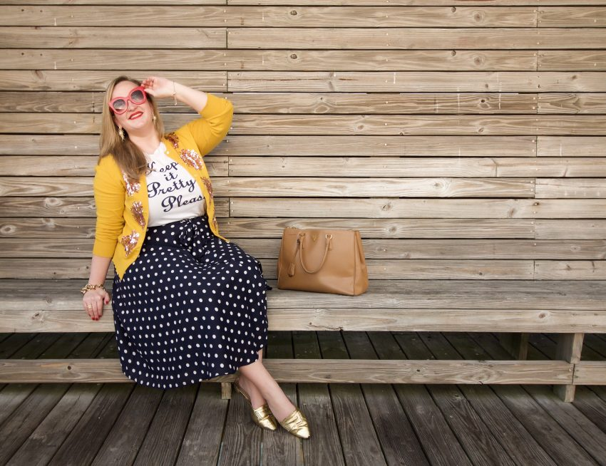 JCrew Sequin Mustard Cardigan Anthropologie Blue Polka Dot Skirt Draper James Keep It Pretty Please Tee Jenna Wessinger Just a Touch Too Much Charleston Atlanta Fashion Outfit Blog