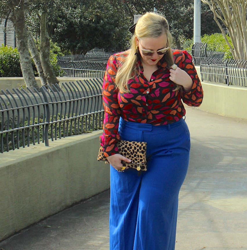 DVF Lip Print Blouse JCrew Blue Wide Leg Trouser Valentine Outfit Jenna Wessinger Just a Touch Too Much Fashion Blog