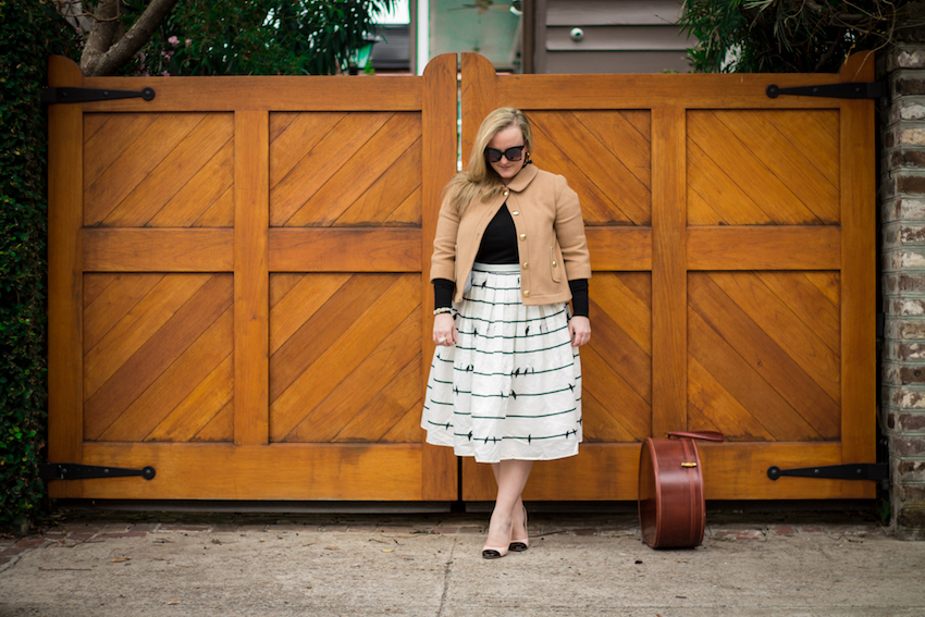 Chicwish Bird Black White Midi Skirt Draper James Short Peacoat Jenna Wessinger Charleston Fashion Blog Just a Touch Too Much