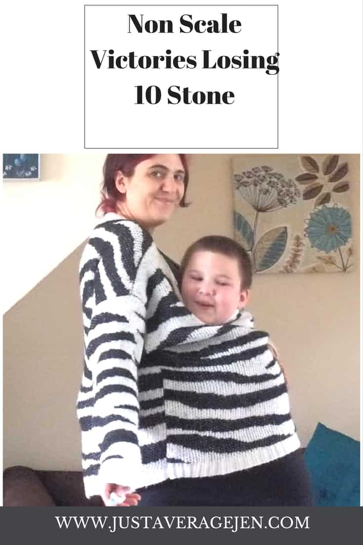 photo of jen and ben both inside jens old black trousers and stripy zebra jumper