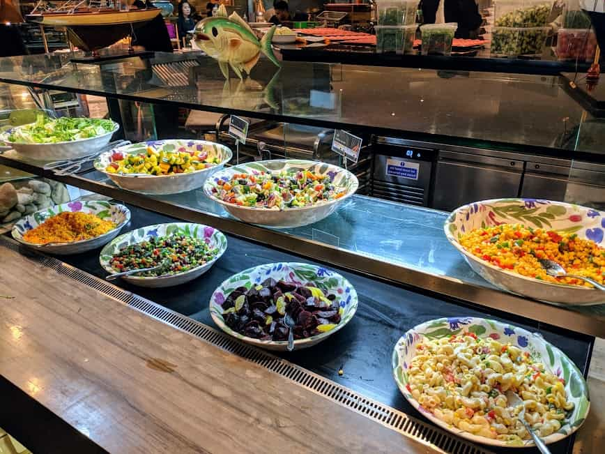 bowls of pasta and rice salads