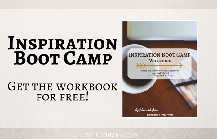 Free Inspiration Boot Camp Workbook!