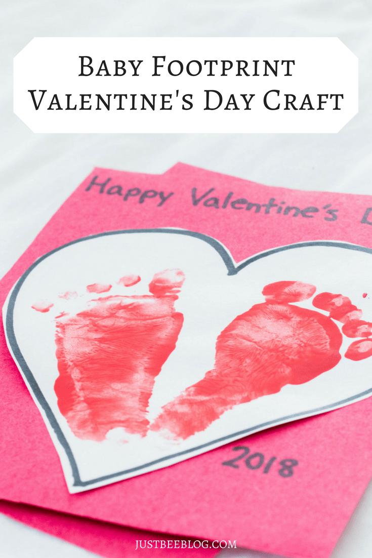 Baby Footprint Valentine S Day Craft
