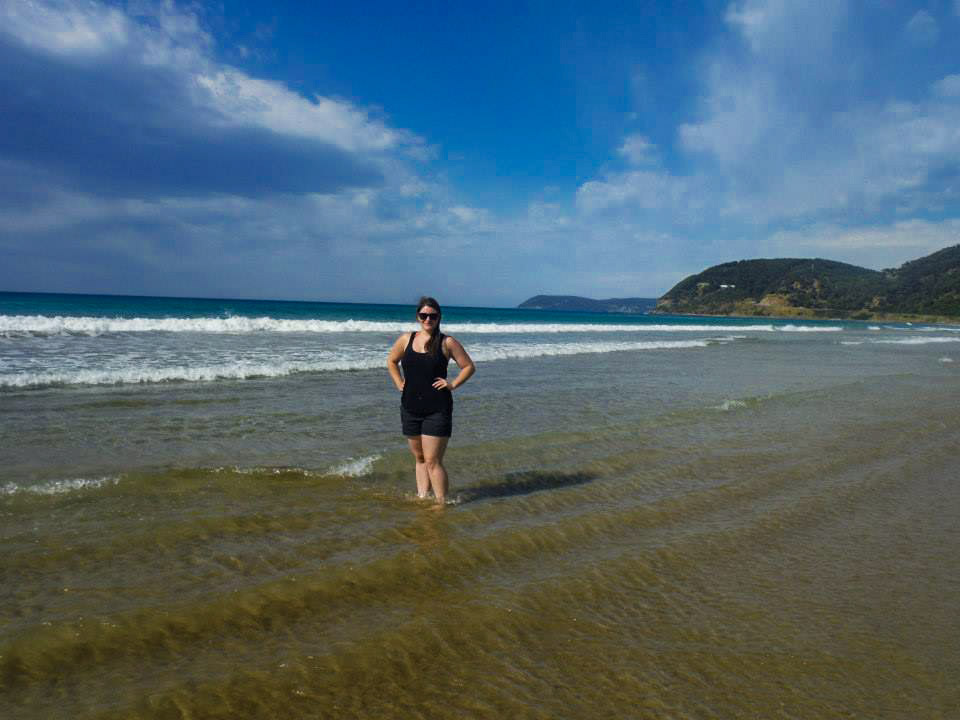 Standing on a beach during a bus break on our Great Ocean Road tour.