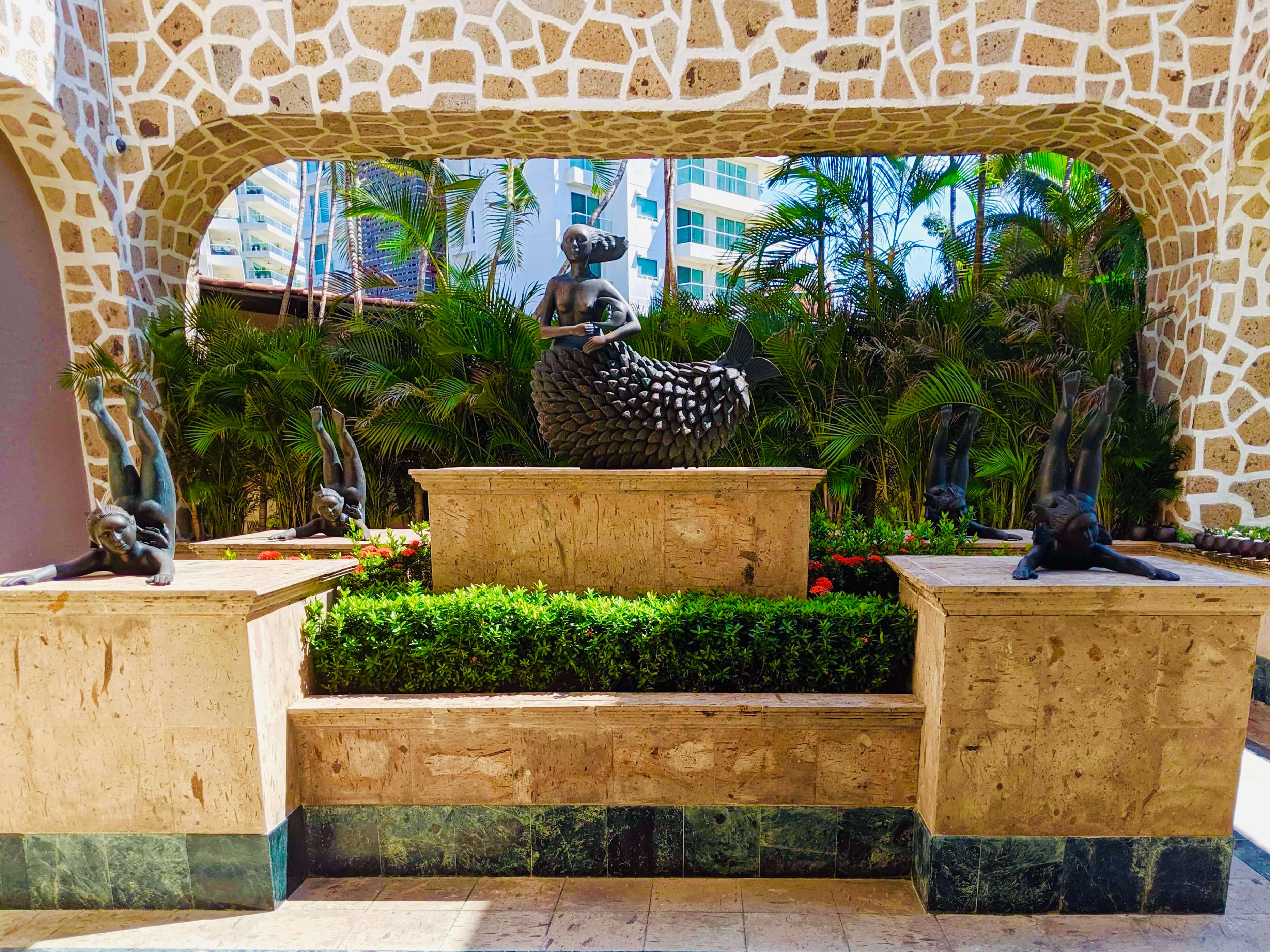 A statue in the hotel lobby