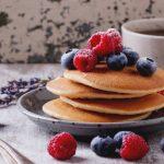 Vegan pancakes with fruit topping.
