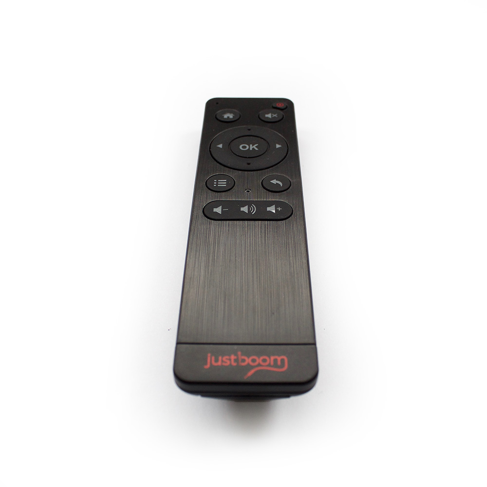Black JustBoom IR Remote with red logo