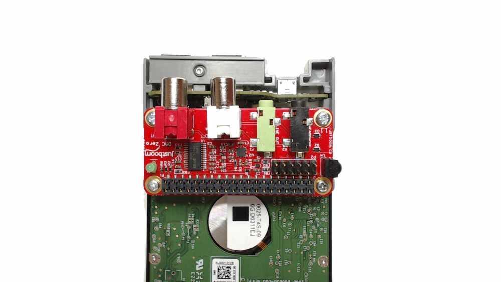 JustBoom DAC Zero pHAT screwed onto the PiDrive Node Zero