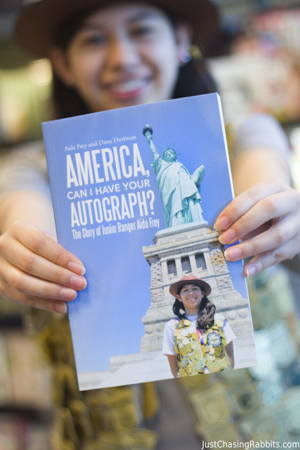 Aida with her book, America, Can I Have Your Autograph?