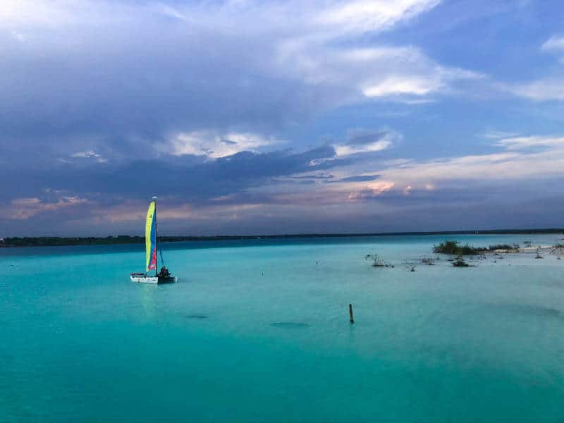 Sailing on Laguna Bacalar at Sunset
