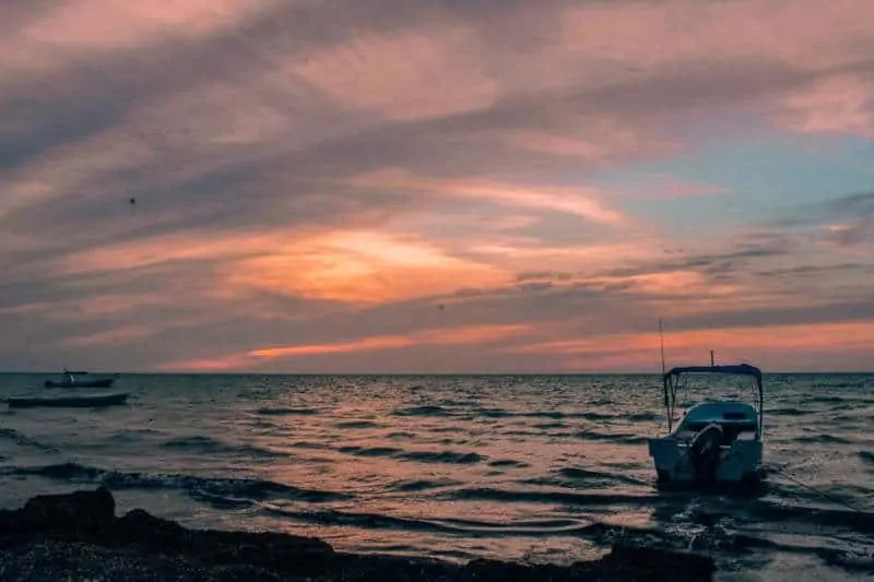 Holbox Fishing Boat catching the sunset
