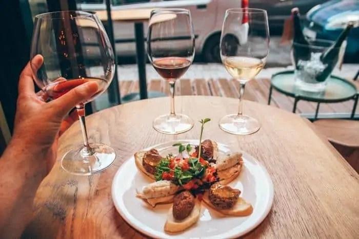 6 tapas, 3 glasses of wine at vitas wine bar in Jewish Quarter Budapest